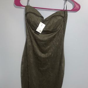 Strapless suede olive dress